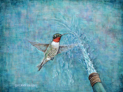 Hummingbird Painting - Being Still by Sherry Montgomery