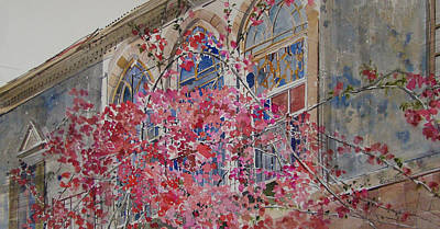 Vernacular Architecture Painting - Beirut Bougainvillea by Martin Giesen