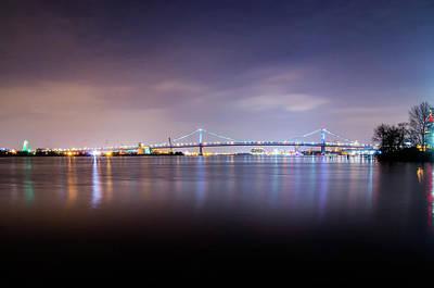 Phillies Photograph - Bejamin Franklin Bridge At Night From Penn Treaty Park by Bill Cannon