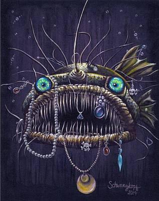 Bejeweled Fanfish Original by Kimberly Schwarzkopf