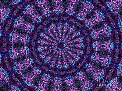 Digital Art - Bejeweled Purple Fuchsia And Blue Fractal Mandala Kaleidoscope Abstract by Rose Santuci-Sofranko