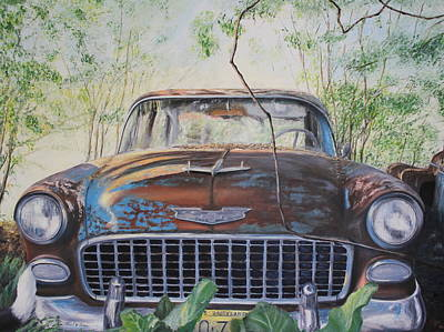 Old Junk Car Painting - Bel Air by Daniel W Green