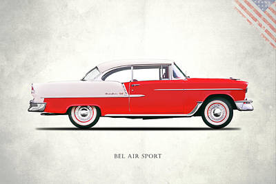 Retro Car Photograph - Bel Air Sport 1955 by Mark Rogan