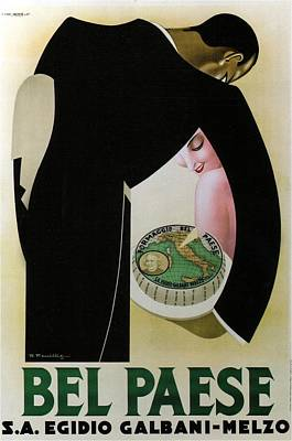 Mixed Media - Bel Paese - Melzo, Italy - Vintage Cheese Advertising Poster by Studio Grafiikka