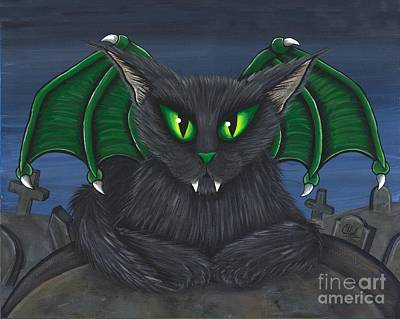 Art Print featuring the painting Bela Vampire Cat by Carrie Hawks