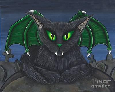 Painting - Bela Vampire Cat by Carrie Hawks