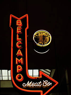 Photograph - Belcampo Meat Co In Neon Lights by Mary Capriole