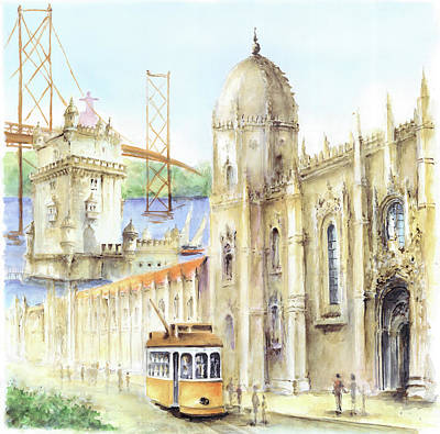 Belem Jeronimos And Belem Tower Lisbon Art Print