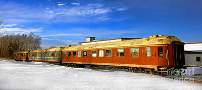 Belfast And Moosehead Railroad Cars In Winter Art Print by Olivier Le Queinec