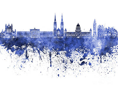 Belfast Painting - Belfast Skyline In Blue Watercolor On White Background by Pablo Romero