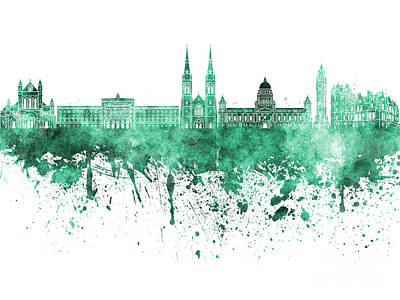Belfast Painting - Belfast Skyline In Green Watercolor On White Background by Pablo Romero