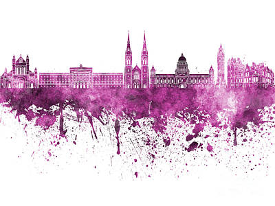 Belfast Painting - Belfast Skyline In Pink Watercolor On White Background by Pablo Romero