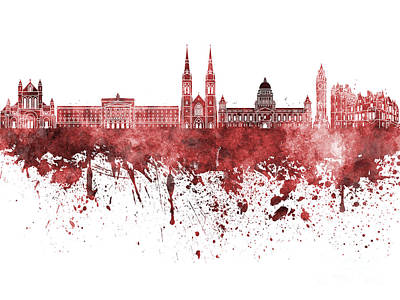 Belfast Painting - Belfast Skyline In Red Watercolor On White Background by Pablo Romero
