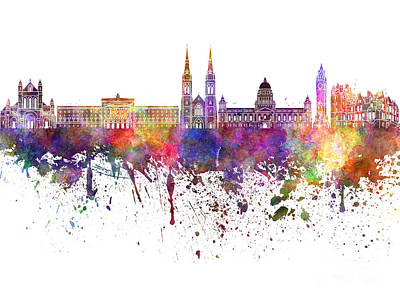 Belfast Painting - Belfast Skyline In Watercolor On White Background by Pablo Romero