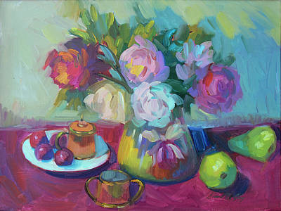 Pears Painting - Belgian Creamer And Sugar by Diane McClary