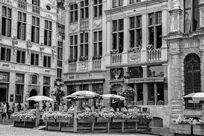The Grand Place Photograph - Belgian Lunch In The Square by Georgia Fowler