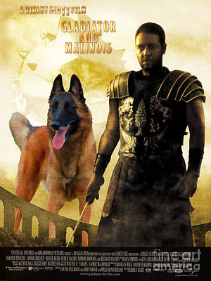 Painting - Belgian Malinois Art Canvas Print - Gladiator Movie Poster by Sandra Sij