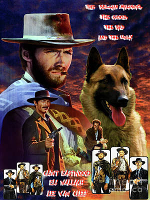 Painting - Belgian Malinois Art Canvas Print -  The Good, The Bad And The Ugly Movie Poster by Sandra Sij