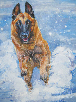 Painting - Belgian Malinois In Snow by Lee Ann Shepard