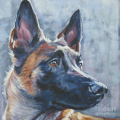 Painting - Belgian Malinois In Winter by Lee Ann Shepard