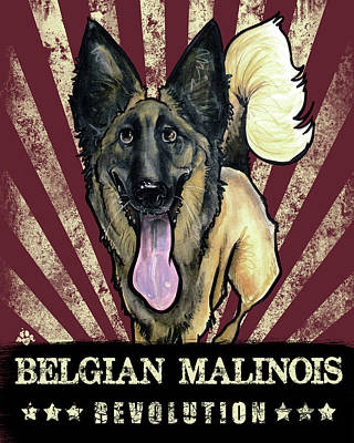 Belgian Malinois Drawing - Belgian Malinois Revolution by John LaFree