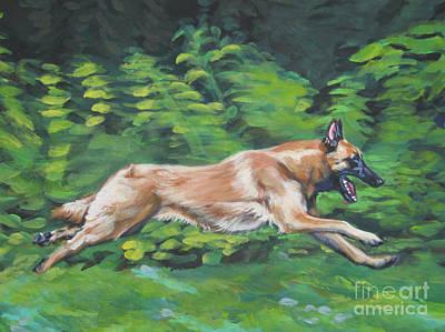 Belgian Malinois Painting - Belgian Malinois Running by Lee Ann Shepard