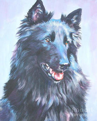 Sheepdog Painting - Belgian Sheepdog Portrait by Lee Ann Shepard