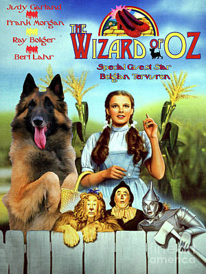 Painting - Belgian Tervuren Art Canvas Print - The Wizard Of Oz Movie Poster by Sandra Sij