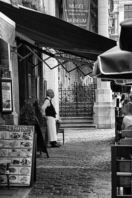 Belgian Waiter Outside Restaurant Art Print by Georgia Fowler