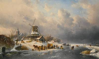 Belgian Winter Landscape With Skating Art Print by MotionAge Designs