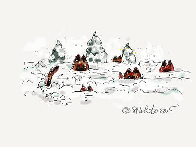 Dog In Snow Drawing - Belgians In Snow by Little Dove  Doodles