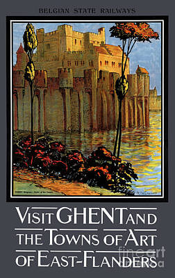 Mixed Media - Belgium Ghent Vintage Travel Poster Restored by Carsten Reisinger