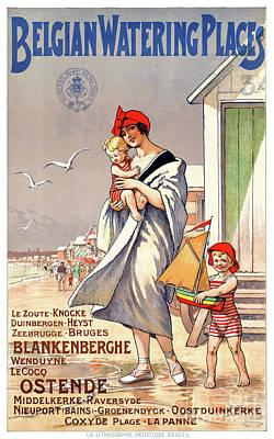 Mixed Media - Belgium Ostende Vintage Travel Poster Restored by Carsten Reisinger