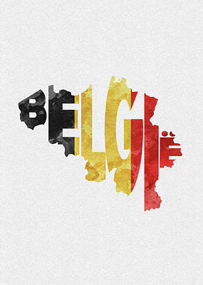 World Map Poster Digital Art - Belgium Typographic Map Flag by Ayse and Deniz