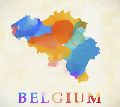 Painting - Belgium Watercolor Map by Dan Sproul