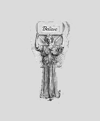 Mixed Media - Believe Angel Bw by Tony Rubino