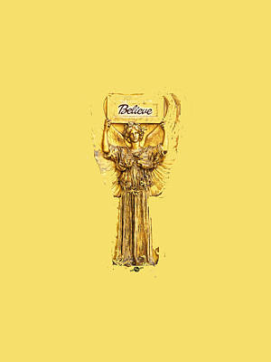 Mixed Media - Believe Angel Gold by Tony Rubino