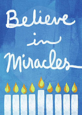 Temple Wall Art - Mixed Media - Believe In Miracles- Hanukkah Art By Linda Woods by Linda Woods