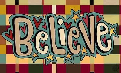Folkart Mixed Media - Believe by Jennifer Heath Henry
