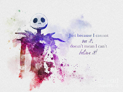 Nightmare Before Christmas Wall Art - Mixed Media - Believe by Rebecca Jenkins