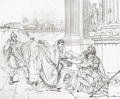 Byzantine Empire Drawing - Belisarius Begging For Alms, After The by Vintage Design Pics