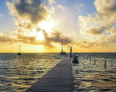 Photograph - Belize Sunrise Pier Ambergris Caye San Pedro by Toby McGuire