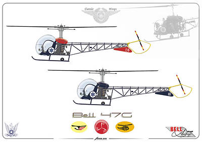 Print featuring the digital art Bell 47g by Amos Dor