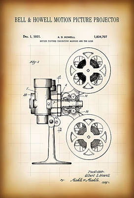 Old Hollywood Digital Art - Bell And Howell Motion Picture Projector Patent 1931 by Daniel Hagerman