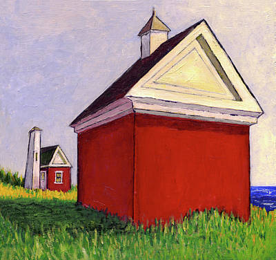 Painting - Bell And Oil House, Pemaquid Light, Maine, Acrylic On Campus 13x by Dave Higgins