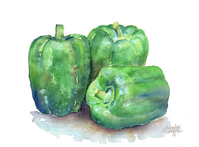 Watercolor Painting - Bell Peppers by Arline Wagner