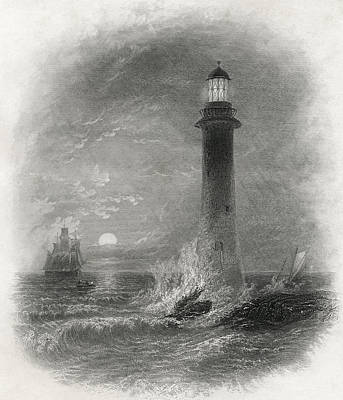 Lighthouse Drawing - Bell Rock Lighthouse In The North Sea by Vintage Design Pics