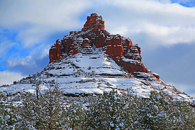 Bell Rock With Snow 2 Print by Donna Kennedy