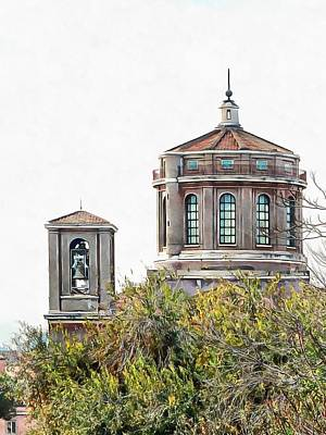 Photograph - Bell Tower And Cupola Rome by Dorothy Berry-Lound