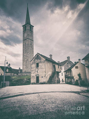 Art Print featuring the photograph Bell Tower In Italian Village by Silvia Ganora